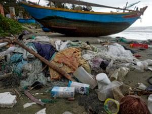 Litter on a beach in Bin Thuan province