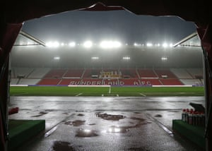 Heavy rain from storm Christoph moves in before the Sky Bet League One match between Sunderland and Plymouth Argyle on Tuesday