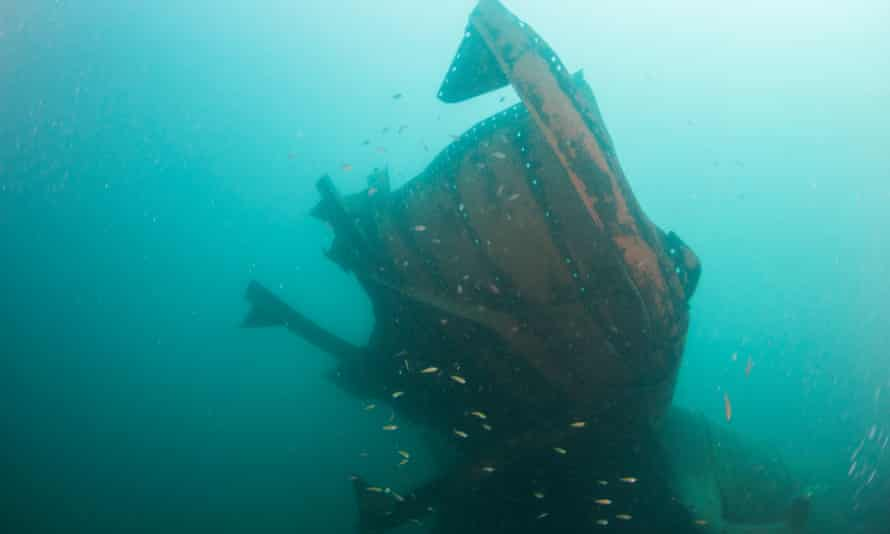 Upside Down Wreck, one of three Japanese second world war ships that lie off the coast of Borneo.