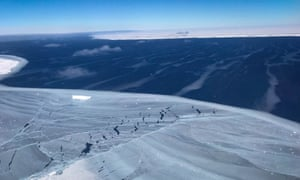 View at the Larsen C ice shelf looking out to the 600ft thick giant iceberg A68.
