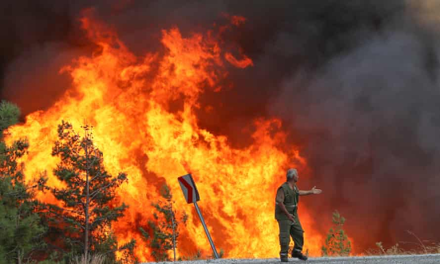 firefighters battle the wildfires at Feslegen Plateau in Milas district of Mugla.
