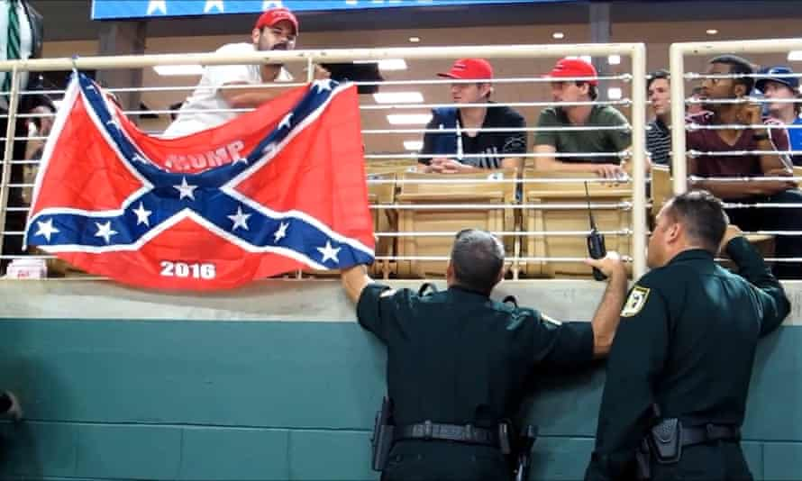 A confederate flag was spotted at a Trump rally on 11 August 2016.