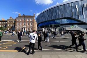 The exterior of the Tottenham Hotspur stadium.