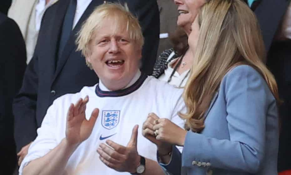 Prime minister Boris Johnson and his wife Carrie at Wembley for England's Euro 2020 semi-final.