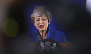 British Prime Minister Theresa May speaks during a media conference at the conclusion of an EU summit in Brussels, 11 April 2019.