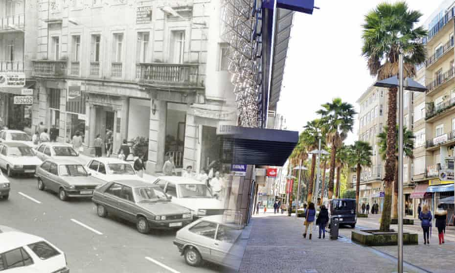 Calle Mellado before and after the implementation of the scheme.