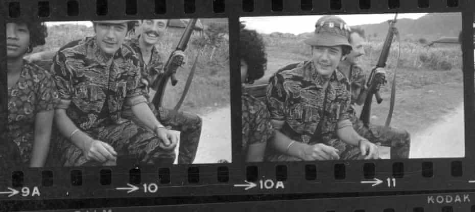 Tim Page on a 3/4 tonner, on the way to the wedding of the Cambodian commander of Ba Xoai special forces camp, 1968