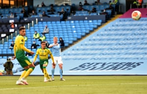 Kevin De Bruyne of Manchester City scores his sides fifth goal.