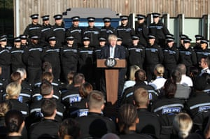 Boris Johnson speaks during his visit at the police in West Yorkshire.