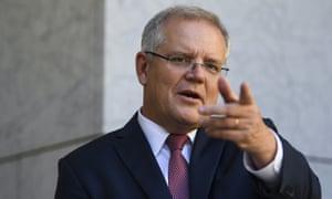 Australian prime minister Scott Morrison speaks to the media at Parliament House in Canberra