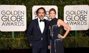 Alejandro González Iñárritu and Maria Eladia at the Golden Globes.
