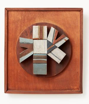 Circle and Shapes (paint on wood), by Matt Rugg, exhibited and sold in 1963 at his first solo exhibition, at the New Art Centre in Chelsea, London.
