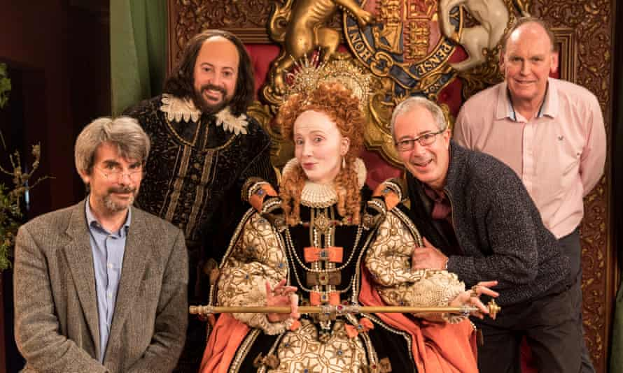 On the set of the Christmas Crow special: from left, producer Gareth Edwards, David Mitchell, Emma Thompson as Queen Elizabeth, Ben Elton and director Richard Boden.