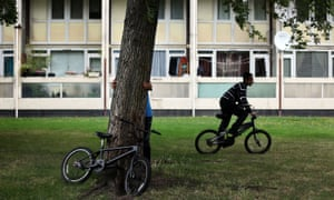 boys on bikes on council estate