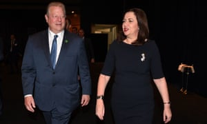 The former US vice president and climate activist, Al Gore, and Queensland 's premier, Annastacia Palaszczuk, at the Brisbane climate change training gathering in Brisbane on Friday.
