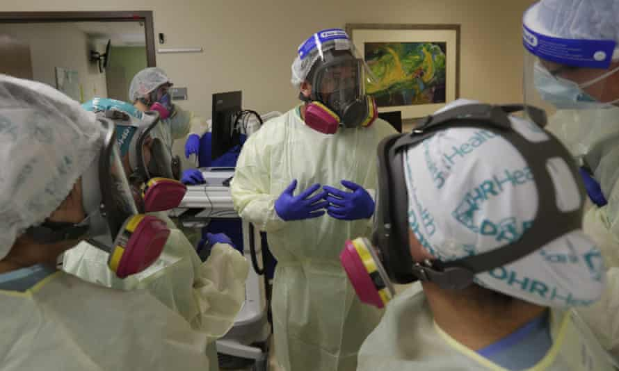 Medical professionals in McAllen, Texas on 29 July 2020.