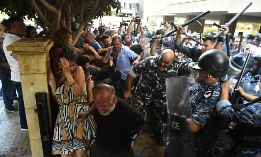 Relatives of the victims of Beirut Port blast gather in front of the house of Lebanon's Interior Minister, Mohammad Fahmi during a protest demanding the fair conduct of the investigation for the explosion in the Port of Beirut.