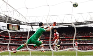 """Premier League - Arsenal v Manchester City<br>Soccer Football - Premier League - Arsenal v Manchester City - Emirates Stadium, London, Britain - August 12, 2018   Manchester City's Bernardo Silva scores their second goal    REUTERS/Eddie Keogh    EDITORIAL USE ONLY. No use with unauthorized audio, video, data, fixture lists, club/league logos or """"live"""" services. Online in-match use limited to 75 images, no video emulation. No use in betting, games or single club/league/player publications.  Please contact your account representative for further details."""