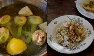 Rachel Roddy Pasta with artichokes and pecorino