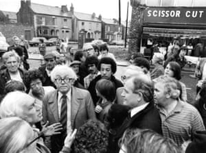 The then Leader of the Labour party, Michael Foot, touring Toxeth, Liverpool, after the riots in July 1981.
