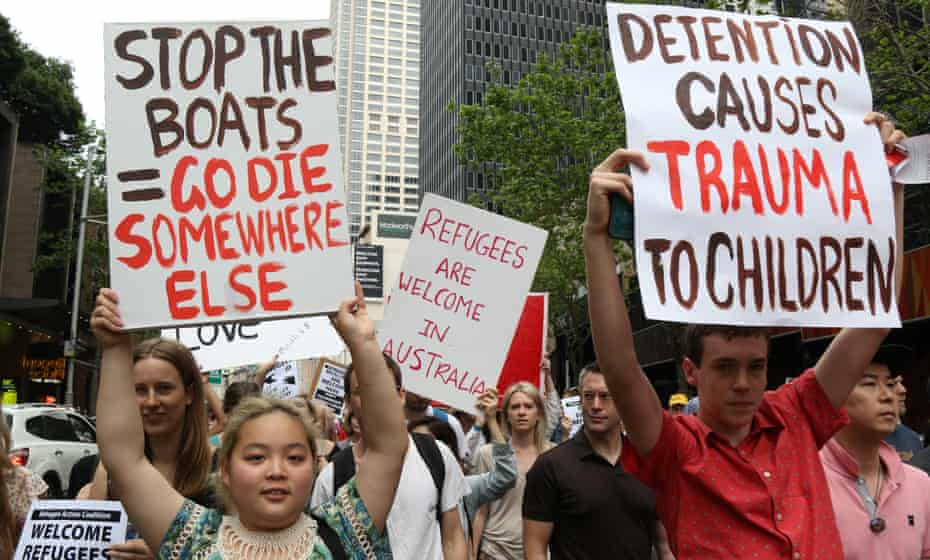 Australia's 'stop the boats' policy has prompted protests but the government says it has saved lives.