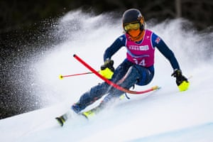 Britain's Daisi Daniels in action during the first run of the women's slalom at Les Diablerets alpine centre near Ormont-Dessus.