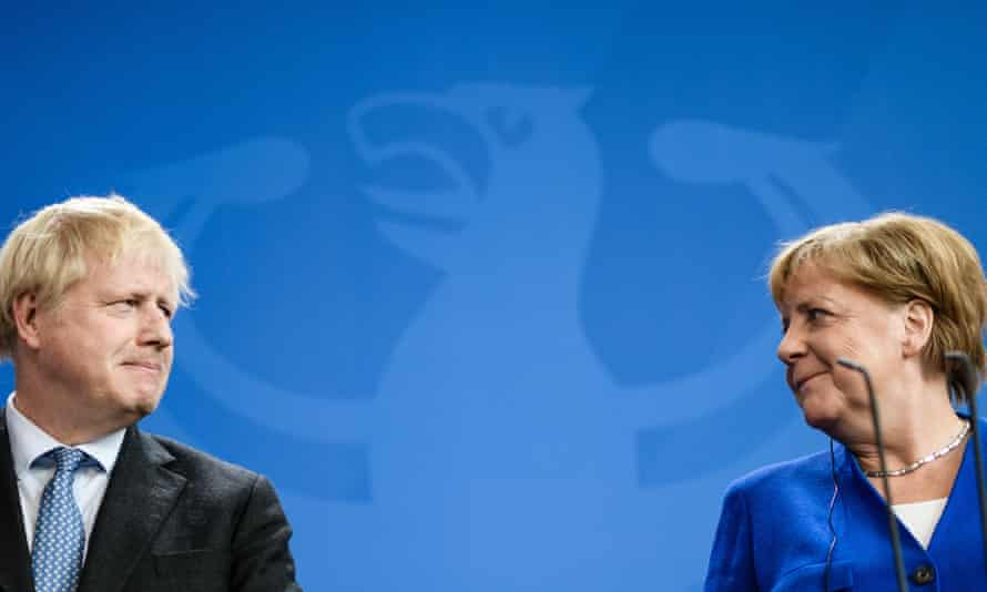 Boris Johnson and Angela Merkel. With 70 days until Brexit, the EU remains in support of the Irish backstop.