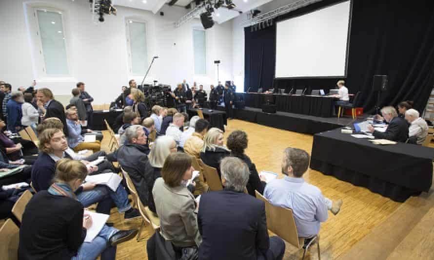 Oskar Gröning trial. Members of media gather in court