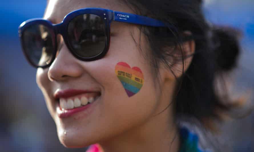 A pride march participant in Seoul.