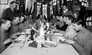 Captain Scott, centre, celebrates his 43rd birthday at camp in the Ross Dependency of Antarctica on 6 June 1911. Photograph: Getty Images