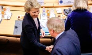 Boris Johnson shakes hands with the European commission president-elect, Ursula von der Leyen
