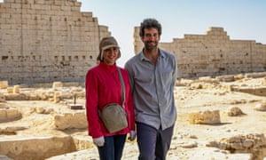 Dr Kathleen Martínez and Dr Glenn Godenho at the Taposiris Magna temple