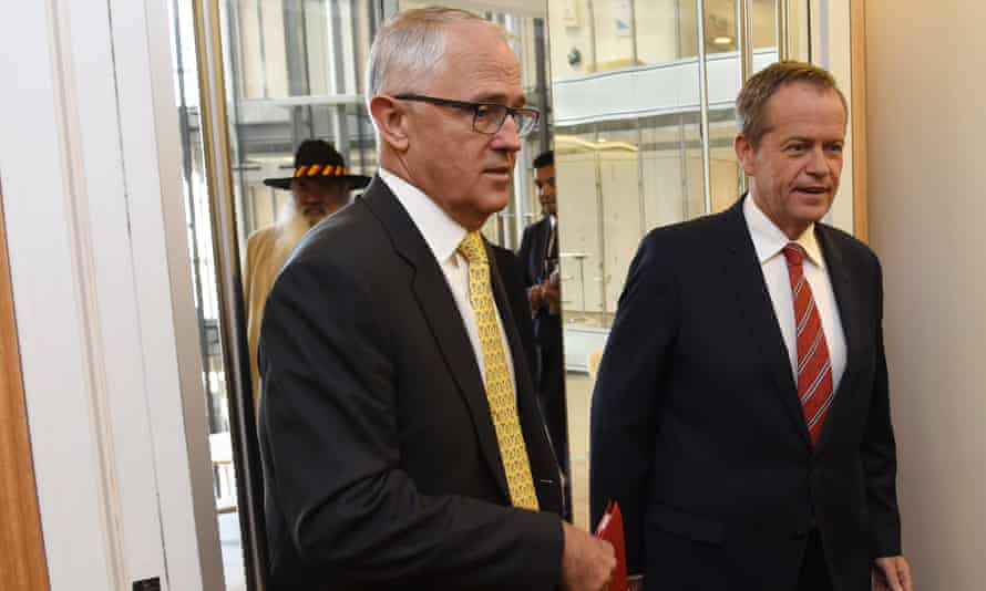 Prime minister Malcolm Turnbull and Labor leader Bill Shorten arrive to address the first meeting of the Referendum Council on constitutional recognition of Aboriginal and Torres Strait Islander peoples in December 2015.