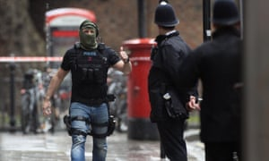 An armed officer in London.