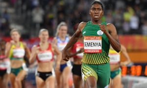 Caster Semenya competing in the women's 1500m final during the 2018 Gold Coast Commonwealth Games