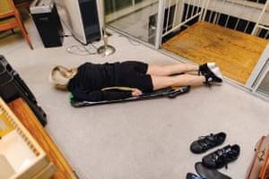 Elizabeth Swaney poses on her skeleton sled at her family's home in Oakland.