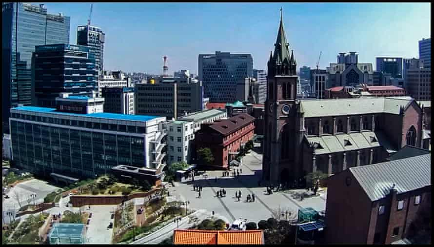 Myeongdong Cathedral, Seoul. The first case was confirmed in South Korea on 20 January. By 12pm on 4 April there were 10,156 cases or coronavirus and 177 people had died.