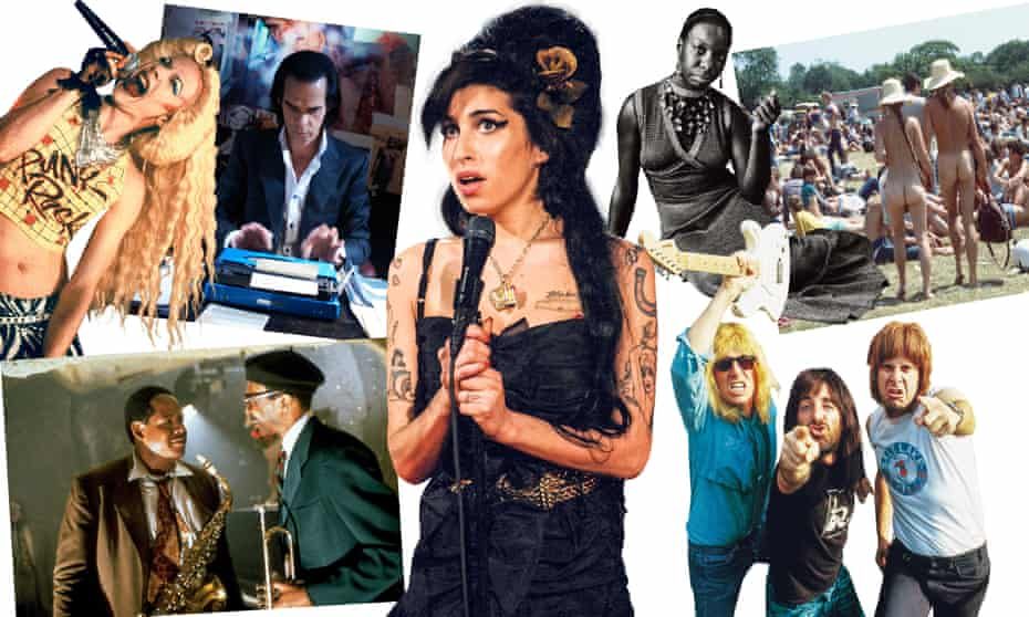 Clockwise from top left: Hedwig and the Angry Inch, Nick Cave in 20,000 Days on Earth, Amy Winehouse, Nina Simone, Woodstock, This Is Spinal Tap, Forest Whitaker and Samuel E Wright in Bird.