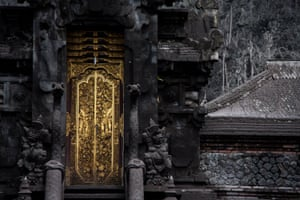 Buildings covered with thick volcanic ash after the eruption of Mount Agung in Bali, Indonesia