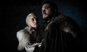 "Emilia Clarke and Kit Harington in a scene from ""Game of Thrones"""