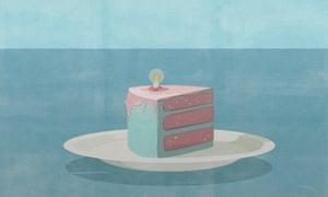 Illustration of candle burning low on slice of cake