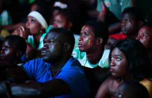 Dejected Senegal fans in Dakar.