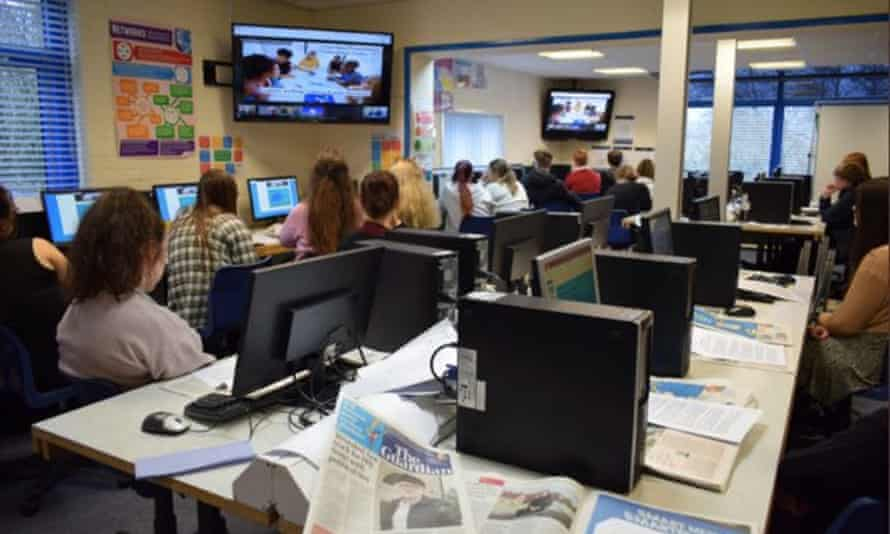 Students from Cockermouth School take part in a Guardian Education Centre virtual workshop