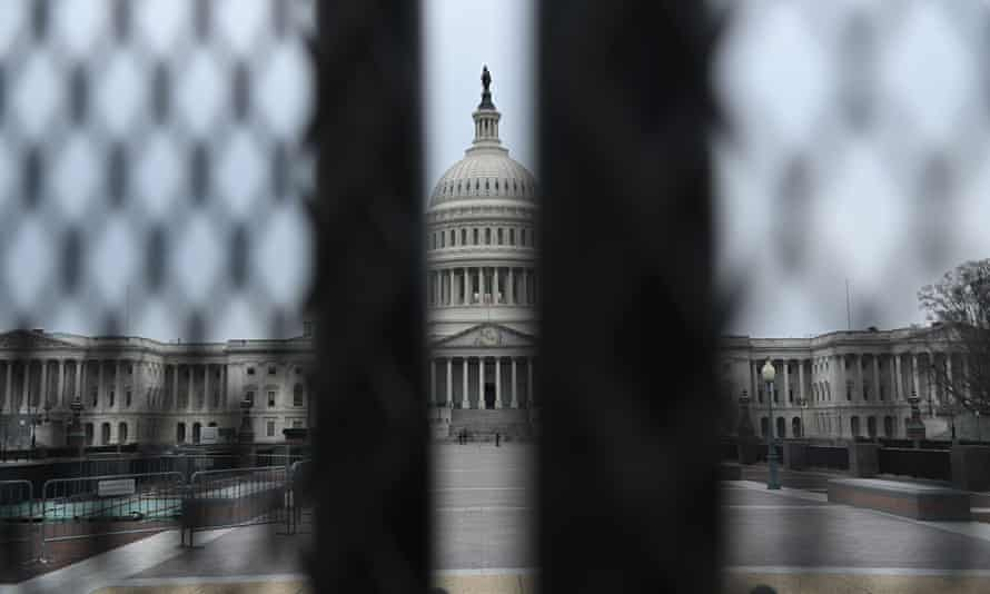 A fence surrounds the US Capitol in Washington DC, on 8 January.