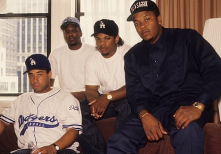 Dr Dre, right, with NWA bandmates in 1991.