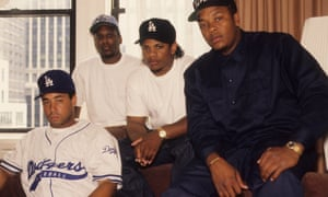 Rappers DJ Yella, MC Ren, Eazy-E and Dr Dre (L-R) of rap group NWA, in 1991 in New York.