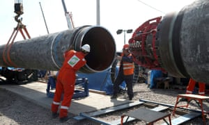 Workers build the Nord Stream 2 gas pipeline near the town of Kingisepp in 2019.