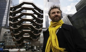 Thomas Heatherwick poses in front of Vessel