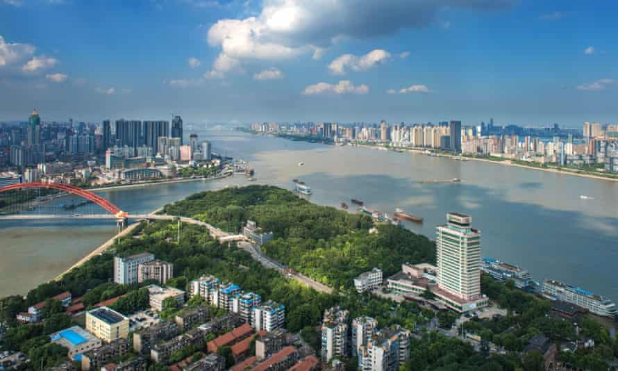 A view of downtown Wuhan city, the capital of Hubei province