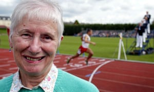 Diane Charles at an athletics meet in Oxford to celebrate the 50th anniversary of Roger Bannister's sub-four-minute mile in 1954. Her own sub-five-minute women's record followed 23 days later.